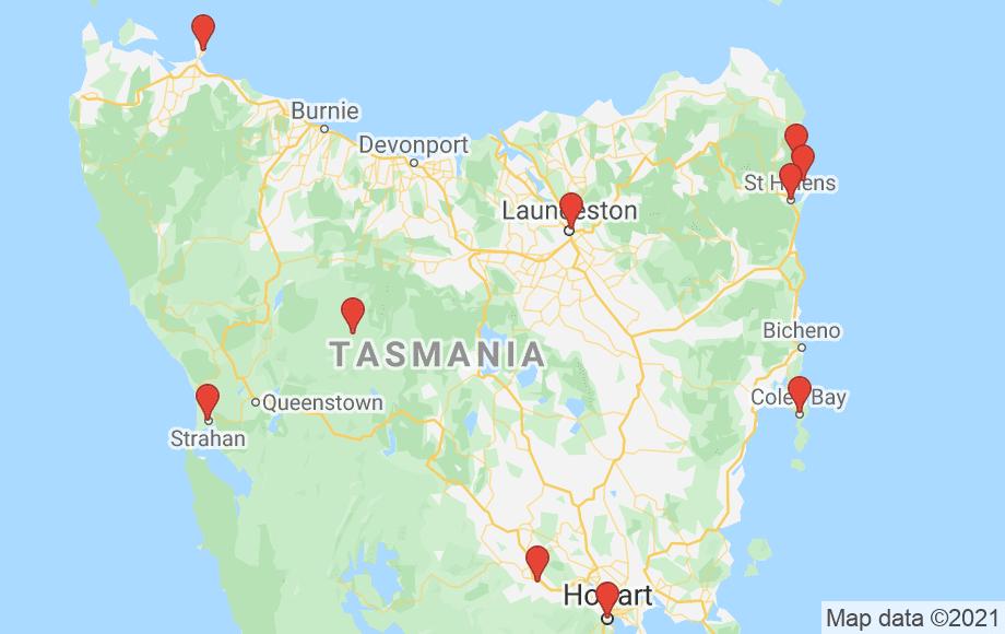 Google Locations for Tasmania