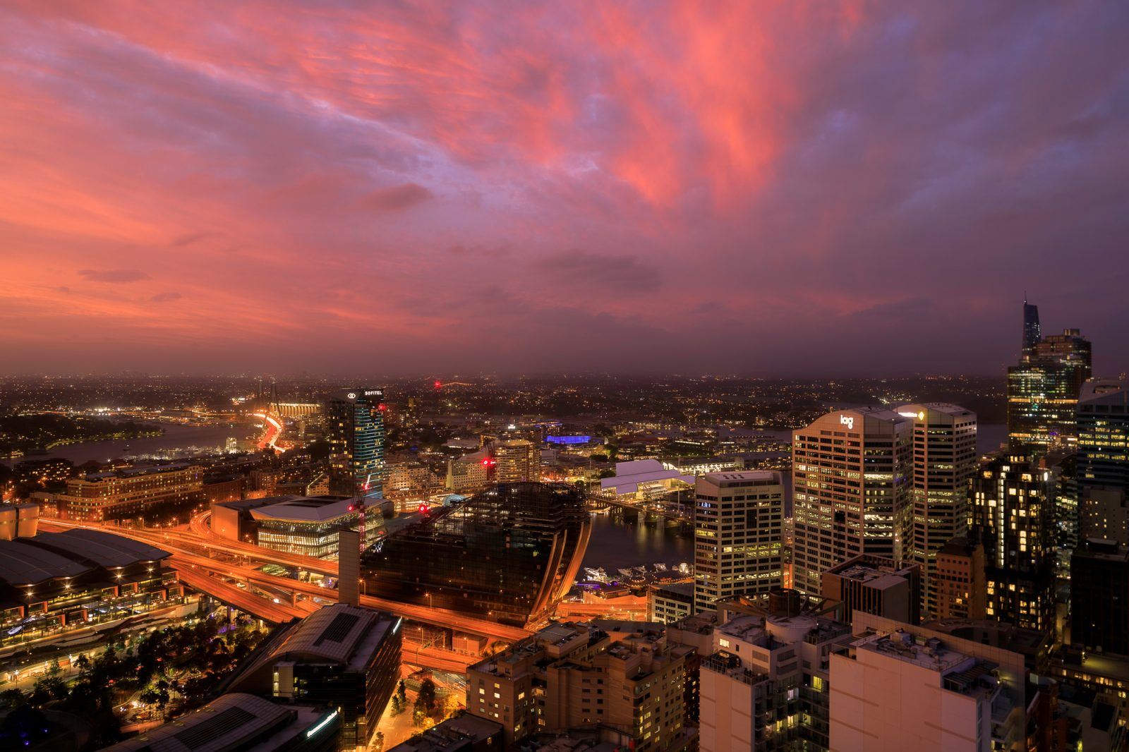 Epic skies over looking Darling Harbour and Sydney CBD from our private balcony at the Meriton Suites Kent Street. Level 32