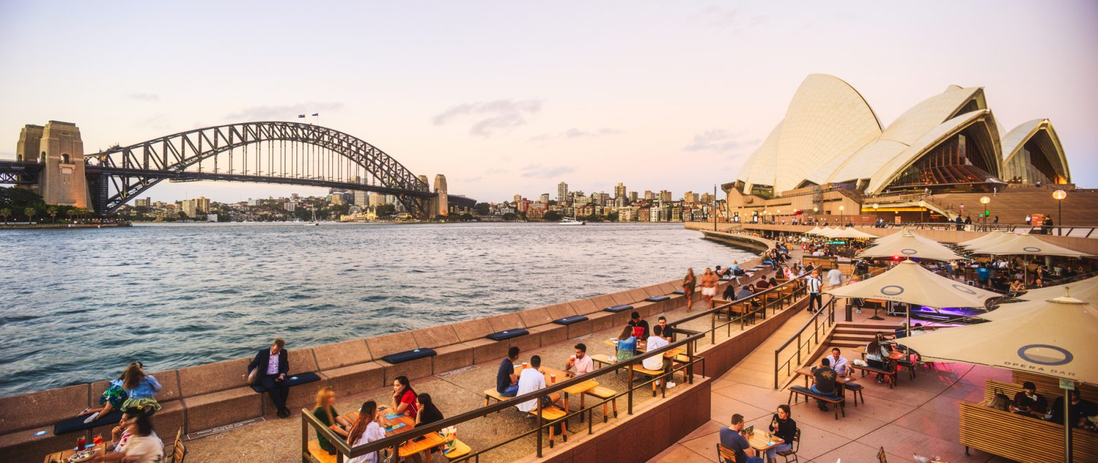 Panoramic view of Opera House and Harbour Bridge