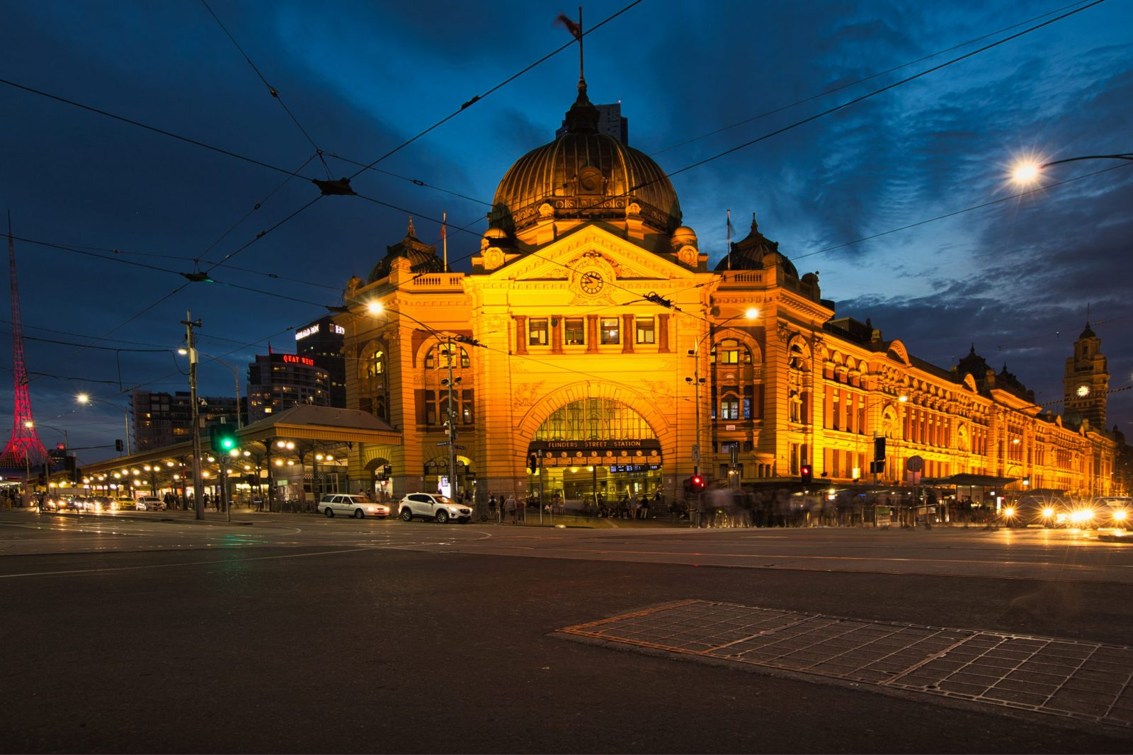 Flinders Street during evening blue hour
