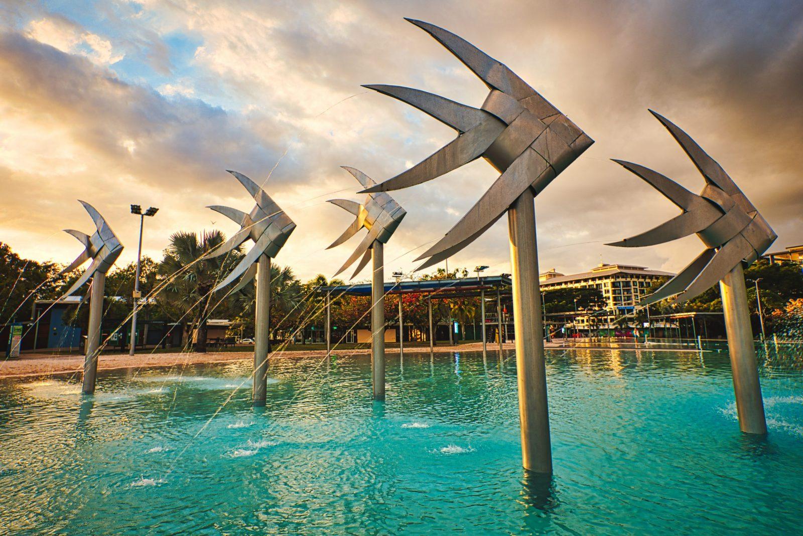 Sunrise at Cairns' Iconic Esplanade Lagoon.